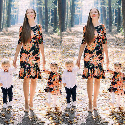 AU Mother and Daughter Matching Dresses Women Girls Short Dress Family Clothes Q