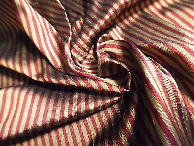 "'SMALLER SIZE'  MICRO STRIPE SILK~RED/GOLD~9""x22""~DOLL DRESS FABRIC~ MINIATURES"