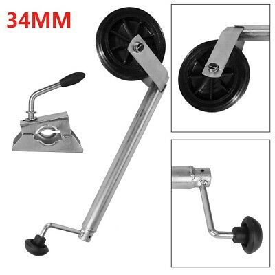 34MM Jockey Wheel With Clamp - Telescopic Plastic Rim Caravan Trailer