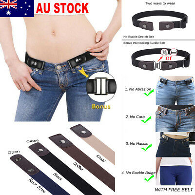 AU Buckle-Free Elastic Invisible Belt Womens Waistband For Jeans No Bulge Hassle