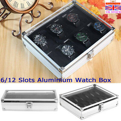 6/12 Grid Aluminium Watch Jewellery Display Storage Box Case Organizer Collector