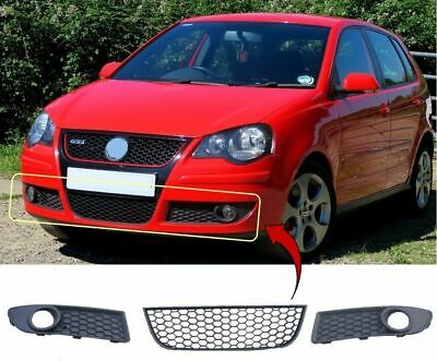 Vw Polo Gti 2005-2009 Front Bumper Lower Grille & Pair Fog Grilles Honeycomb New