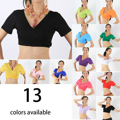 Soft New Cotton Women Belly Dance costumes Short Sleeve Choli Top 3ways to wear