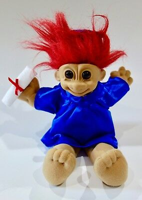 Troll Doll Russ Graduation Plush Troll with Red Hair and Blue Graduation Gown