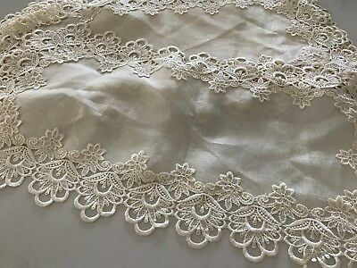 """Set of 7 Matching Vintage Doily Embroidered Crochet Border with """"silk"""" insert"""