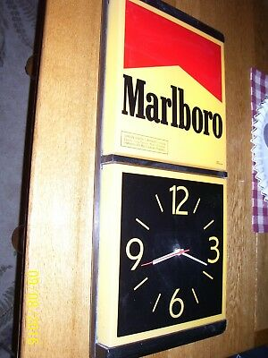 "Vintage Marlboro Advertising  Lighted Sign & Clock - 26"" Tall"