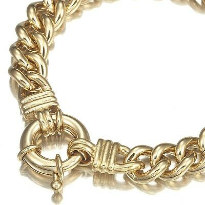 18K Yellow Gold GL Chunky Solid Women's Euro Bracelet with Life Buoy Bolt Clasp