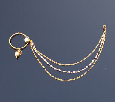 Beautiful Bridal Wedding Nose Ring Indian Traditional 3 Chain Nath Hoop Jewelry