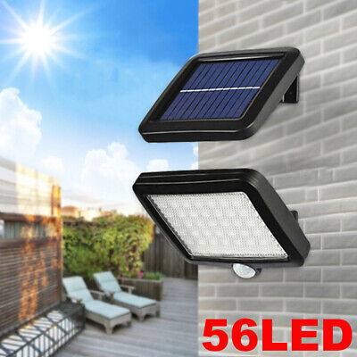 56 LED Solar Powered PIR Motion Sensor Garden Wall Light Security Flood Outdoor