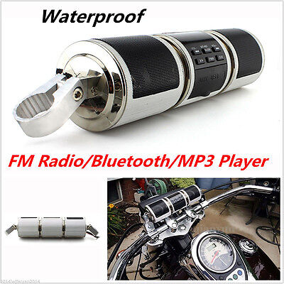 Sliver Audio Sound System MP3 Radio Stereo Double Speaker Motorcycle Bluetooth