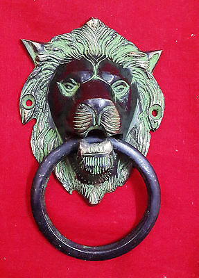 Vintage Reproduction Antique Style Solid Brass Lion Head Design Door Knocker BM4