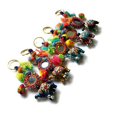 Indian Elephant Embroidered Keychain Bohemian Girls Keyring Wholesale Lot 50 PCS