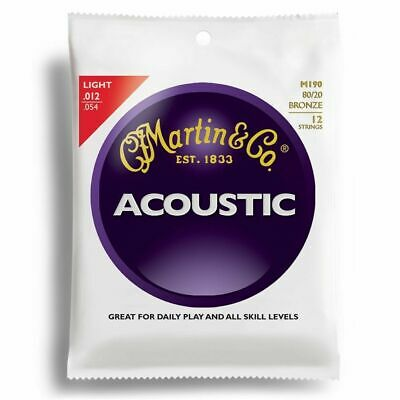 Martin M-190 Traditional 80/20 Bronze Light Acoustic 12-String Guitar Strings