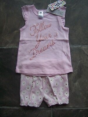 BNWT Baby Girl's Pink, White & Gold Cotton Knit Summer Pyjamas Size 0