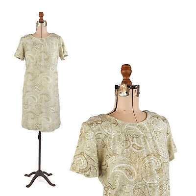 Vintage 60s Green + Silver Metallic Abstract Paisley Mod Shift Party Dress L