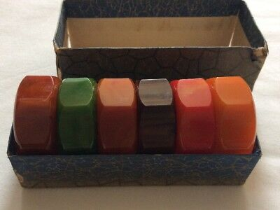 Vintage Bakelite Art Deco Napkin Rings Six 1930s Early Plastic Marbled