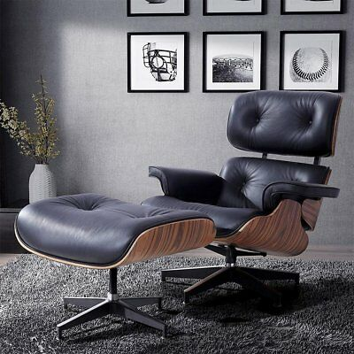 Lounge Chair and Footstool - Real Leather - Walnut Wood - Reclining Chair - UK