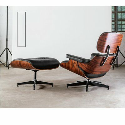 HOT Walnut Wood Real Leather Lounge Chair Armchair Swivel Recliner Foot Stool