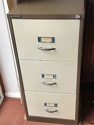 3 drawer bisley metal filing cabinet with key
