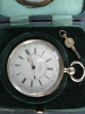 Heayy Large Antique Silver Centre Second Fusee Pocket Watch Working & Big Case