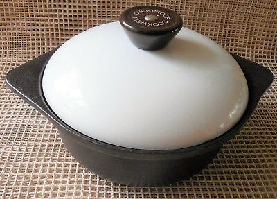 """Small Cast Iron Dutch Oven Pot Brown With Metal White Lid 8"""" Across x 3"""" Deep"""
