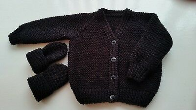 Baby  Hand Knitted Cardigan, Plus Mittens, Black, 3-6 Months, Long Sleeve, New