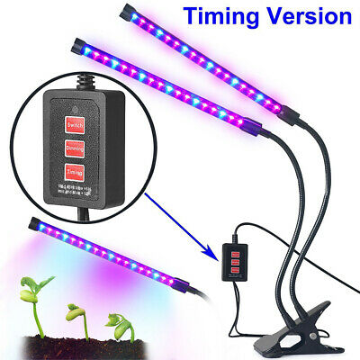 12W LED Plant Grow Light Lamp Dual Head For Indoor Greenhouse Flower Seed Garden