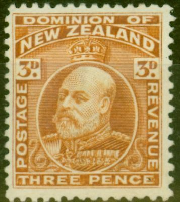 New Zealand 1909 3d Chestnut SG389 P.14 x 14.5 Fine Mtd Mint