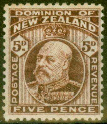 New Zealand 1909 5d Brown SG397 P.14 Fine Mtd Mint