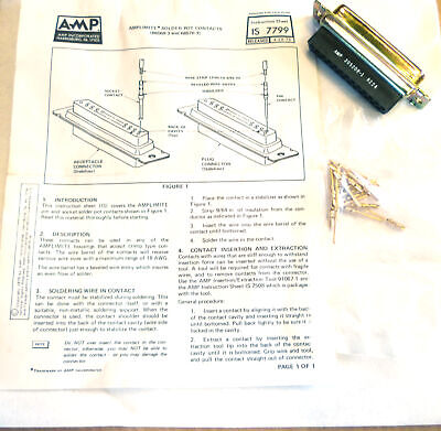 AMP 205208-1 25 Way D Plug and Gold Pins Vintage '82 OM0256C