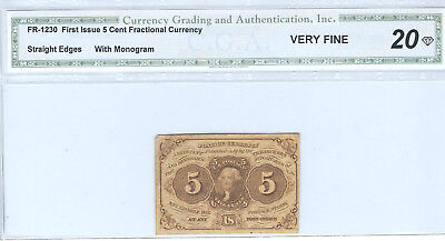 Fractional Currency, First Issue, 5 cents, graded VF20, FR1230