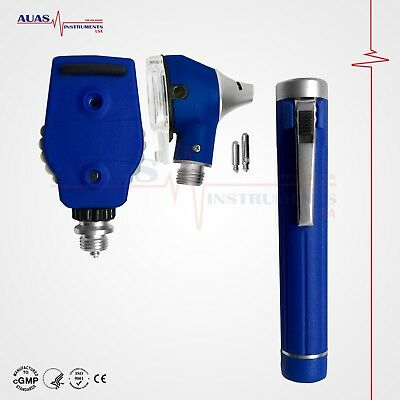 Otoscope Ophthalmoscope (Blue) Mini Fiber Optic Examination Led Ent Diagnostic