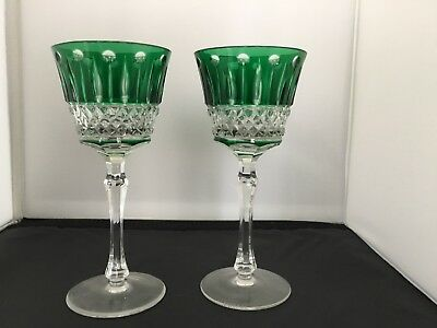 """2 Faberge XENIA Emerald Green Cut to Clear Crystal Wine Goblet Signed New 7 3/8"""""""