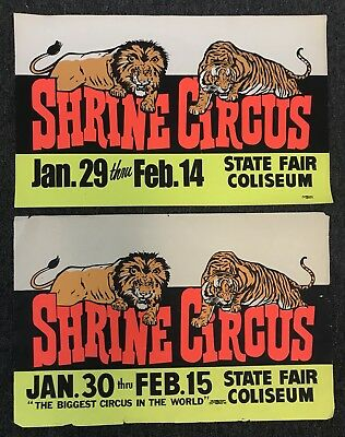 Shrine Circus Poster Vintage Thick Paper Lion and Tiger Detroit Michigan Fair