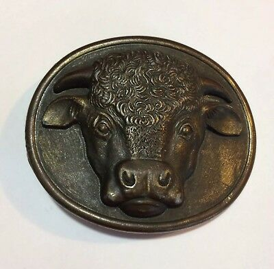 Vintage Myers Suzio Malcolm Hereford Cows Cocktails 1975 Bull Head buckle