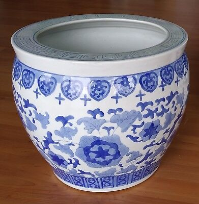 Blue and White Ceramic Planter-Chinese Flower Motif-Excellent Condition