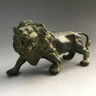 China antique bronze handmade fengshui lucky Wild animal Lion statue