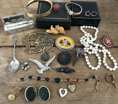 Antique Art Deco Vintage Jewelry Lot Sterling Silver Gold Fill Jade Amber Coral