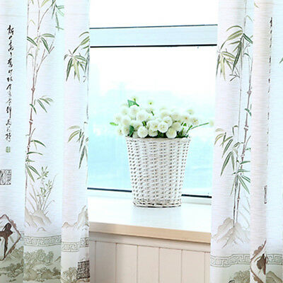 Bamboo Floral Tulle Voile Door Window Curtain Drape Panel Sheer Scarf Decor