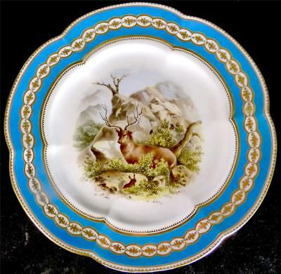 N831 C1860 ANTIQUE ENGLISH PORCELAIN PLATE TURQUOISE BORDER HAND PAINTED STAG b