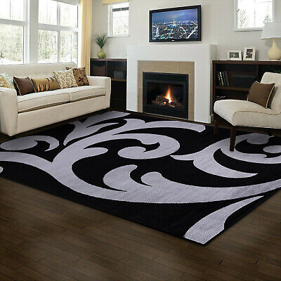 Black & Grey Hand Carved Modern Floral Rugs Small and Large Rug Runner Mat-Sofia