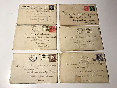 6 WWI Letters Lot WW1 - From USA to FRANCE & Canada 1917 - 1918 - 100 Years Old!