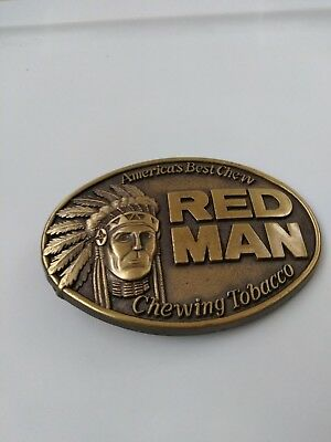 Red Man Belt Buckle Indian Chief Pinkerton Chewing Tobacco Vintage 1988