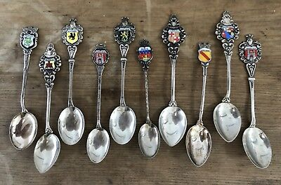 Lot Of 10 Antique Vintage 800 Silver Enamel European Souvenir Spoons