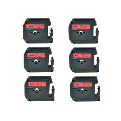 6PK MK431 Black on Red Tape 12mm MK-431 M431 Replacement For Brother PT-80SCCP
