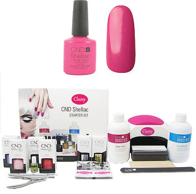 CND Shellac Hot Pop Pink Nail Starter Kit With Classy Nails 48W LED Lamp