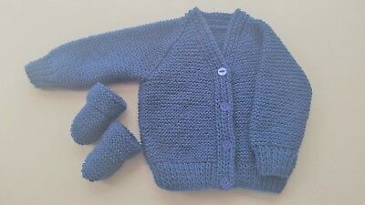 Baby Hand Knitted Cardigan + Mittens, Denim Blue, 3-6 Months, Long Sleeve, New