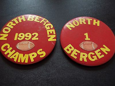 2 North Bergen, NJ High School Collectible Vintage Football Pinback Buttons