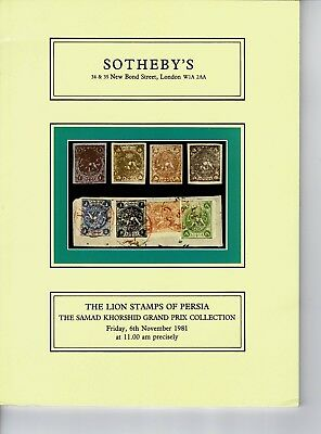 Auction Catalogue Lion Stamps of Persia, Khorshid Collection, Sothebys 1981