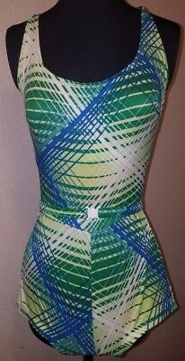 Vintage 1960s Robby Len Swimsuit Colorful Stripes One Piece Retro Women's M/L
